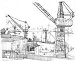line drawing south shields tyne cranes 1986 sheila graber