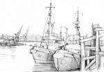 line drawing south shields tyne tugs 1986 sheila graber
